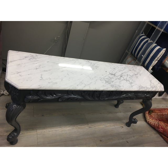 Vintage Grey Lacquered & Marble Top Console For Sale - Image 9 of 11