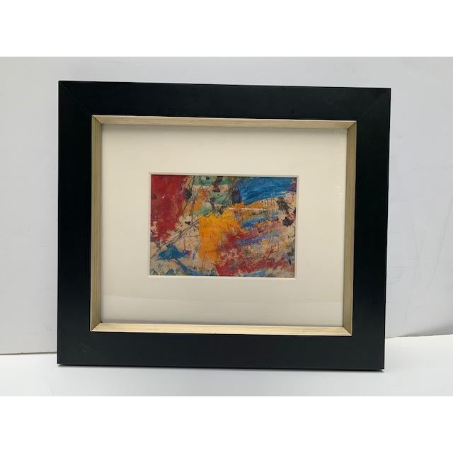 Taro Yamamoto American 1919-1994 Abstract Composition in Blue, Red Orange Watercolor 9.5 x 7 in Signed and dated 1957...