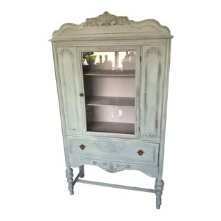 1920s Jacobean Jewel China Cabinet Curio Bookcase For Sale