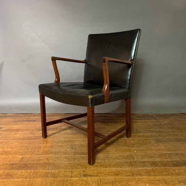 1940s Jacob Kjær 1940s Leather and Mahogany Armchair, Denmark For Sale - Image 5 of 10