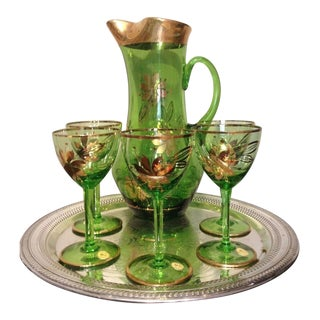 Vintage Romanian Emerald Green Gold Crystal Pitcher, Glasses & Silverplate Tray - Set of 7 For Sale