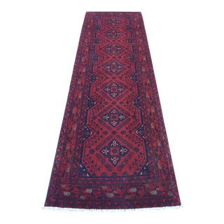 Red Geometric Afghan Andkhoy Runner For Sale