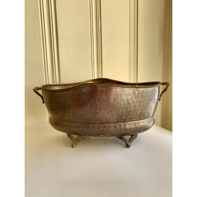 Classic English Cottage Style Aged Brass Plant Vessel For Sale - Image 13 of 13