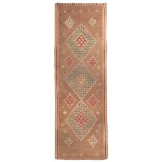 1940s Vintage Senneh Beige and Red Wool Persian Kilim Rug- 4′2″ × 13′ For Sale