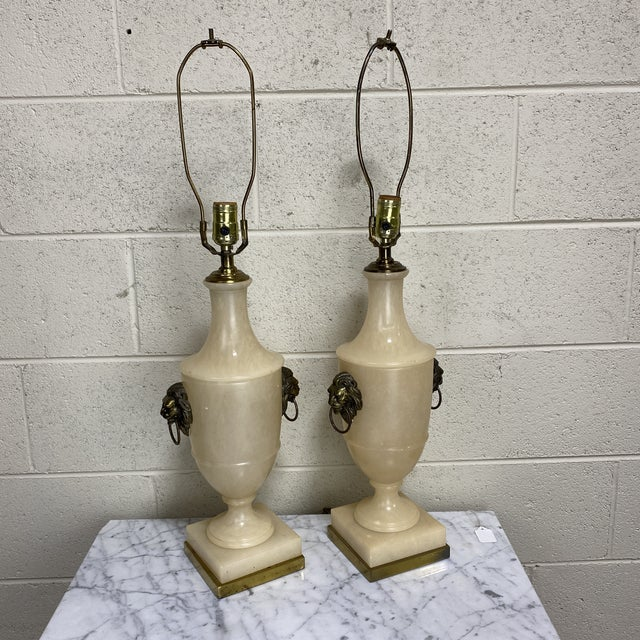 Paul Hanson Neoclassical Marble Iron Lamps - a Pair For Sale - Image 13 of 13