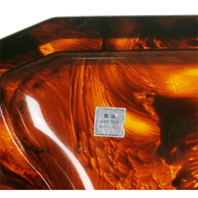 Art Deco Faux Tortoise Shell & Chrome Steel Banded Divided Tray For Sale - Image 3 of 5