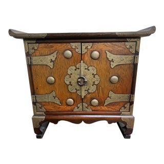 20th Century Asian/ Chinoiserie Miniature Wooden Chest For Sale