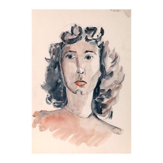 "Eve Nethercott ""Portrait of a Woman"" Watercolor - Image 1 of 2"