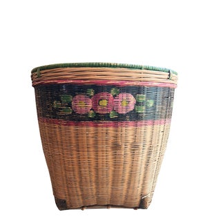 Early 20th Century Antique Hand-Painted Basket For Sale