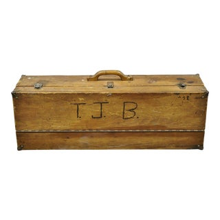 """Antique Wooden Tool Chest Storage Box Carved Initials Signed """"t.j.b. """"78"""" For Sale"""