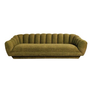 Mid Century Modern Channel Tufted Platform Sofa For Sale