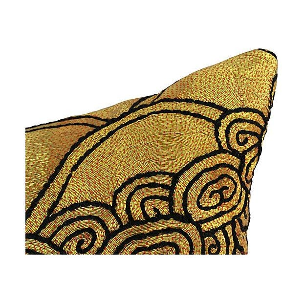 Gold Beijing Embroidered Opera Robe Pillow - Image 3 of 4