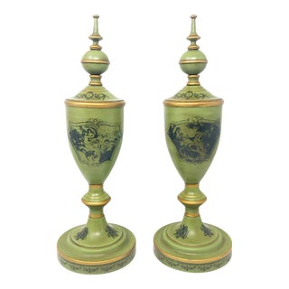 1950s Italian Tole Urn Finial Style Vases With Lids For Sale