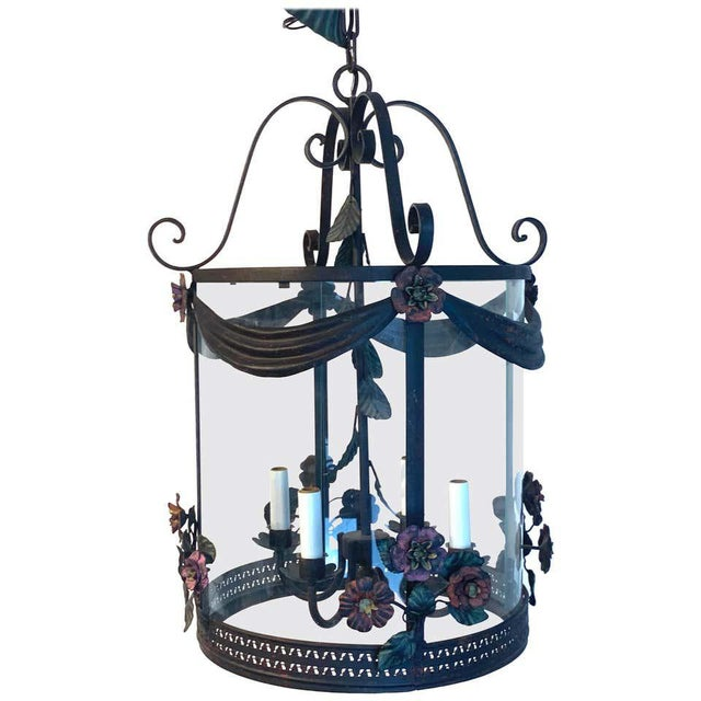 Metal French Polychromed Tole Floral Lantern For Sale - Image 7 of 7