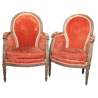Maison Jansen Louis XIV Bergere Chairs - Pair