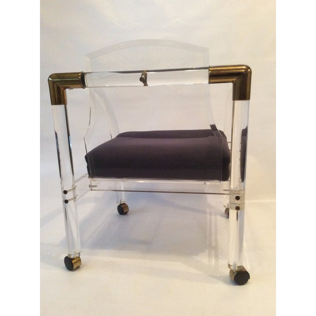 Mid-Century Lucite & Brass Lounge Chair - Image 5 of 9