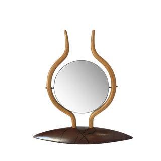 Danish Modern Teak Table Top Vanity Mirror For Sale