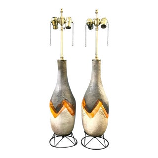 Mid-Century Glazed Terra Cotta Lamps on Wire Plinths - A Pair For Sale