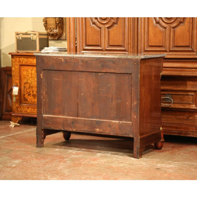 19th Century French Empire Walnut With Black Marble Top Four-Drawer Commode For Sale - Image 9 of 10