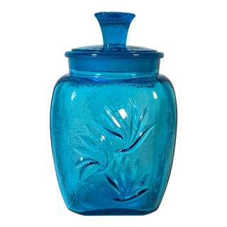 Vintage Turquoise Blue Square Pressed Glass Canister with Glass Lid For Sale