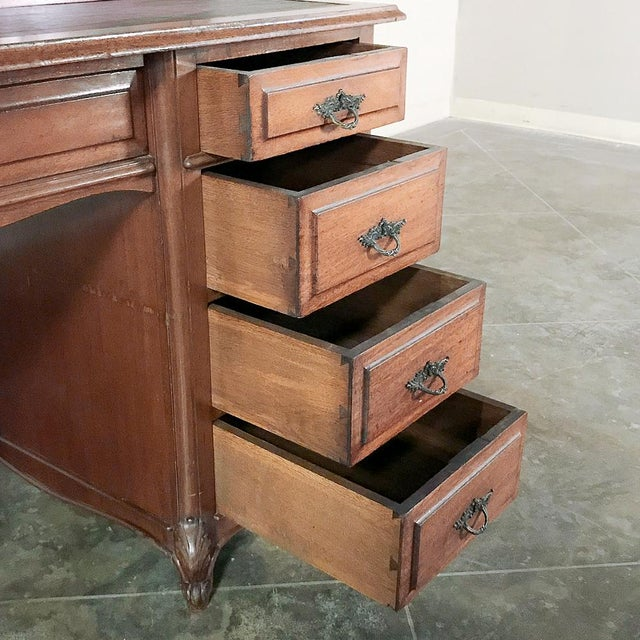 Gold Grand 19th Century Louis Philippe Mahogany Desk With Bookcase For Sale - Image 8 of 13
