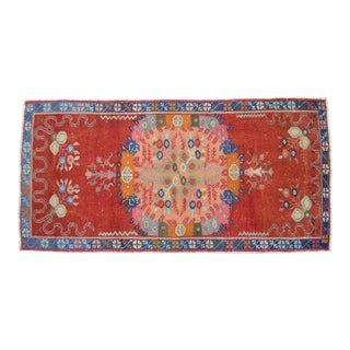 Turkish Oushak Hand Knotted Area Rug Distressed Small Rug - 2′7″ × 5′2″ For Sale