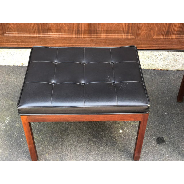 Mid Century Modern Walnut Inlaid Coffee Cocktail With 2 Benches For Sale - Image 4 of 8