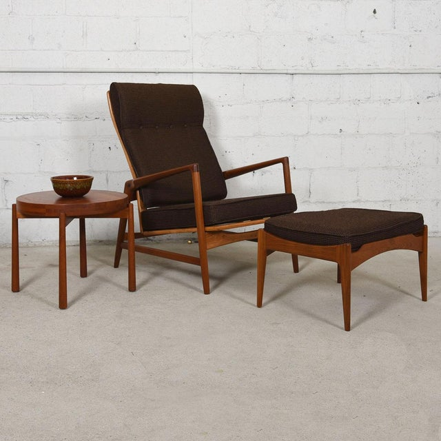 Kofod Larsen Danish Modern Teak Adjustable Lounge Chair with Ottoman - Image 4 of 10