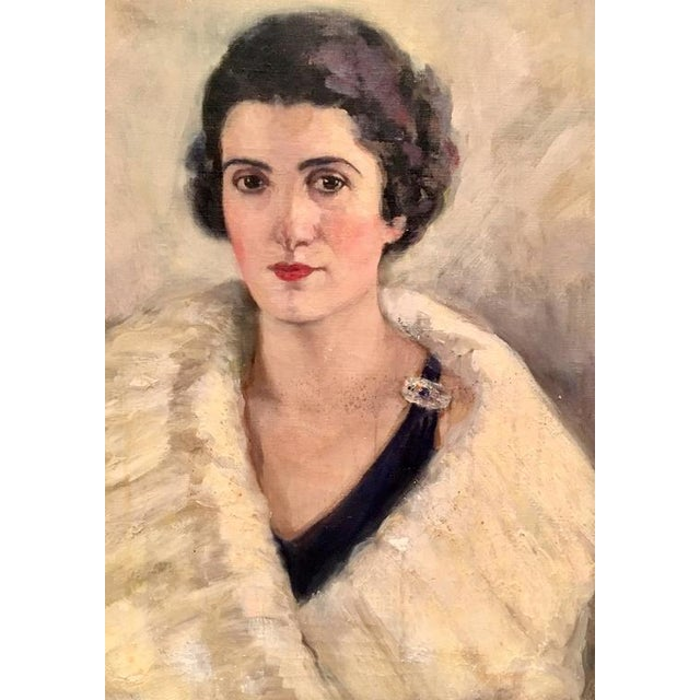 Mid-Century Modern Early 20th Century Original Oil Painting Female Portrait -Framed & Signed By, H. Pink For Sale - Image 3 of 10