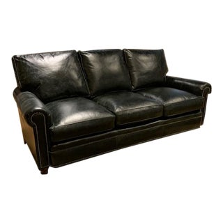Modern Showroom Sample Black Leather Sofa For Sale