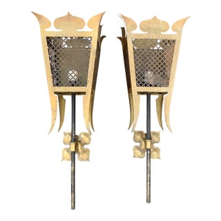 Gothic Style Copper Colored Metal Sconces For Sale