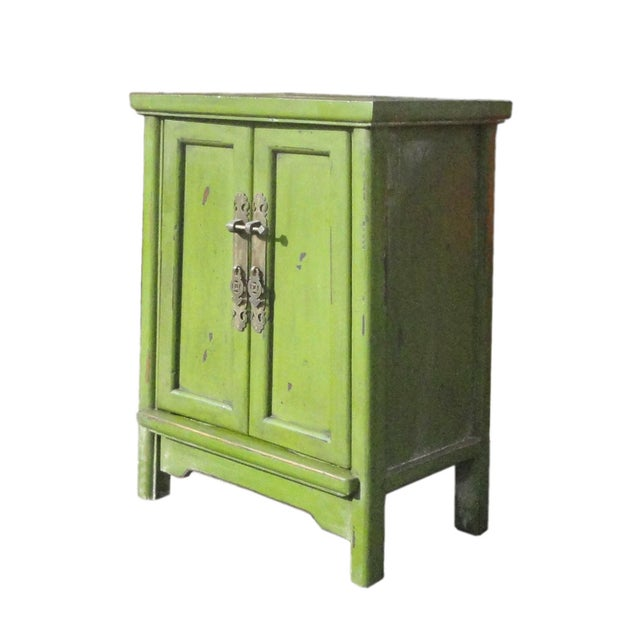 Primitive Grass Green Oriental End Table Nightstand For Sale - Image 3 of 5