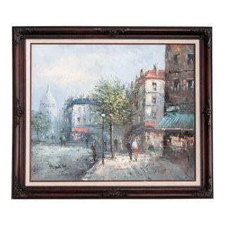 Framed Original Impressionist Oil Painting Paris Scene For Sale