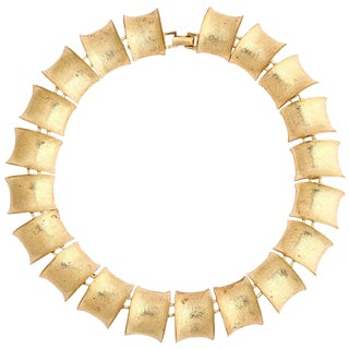 "Gilt ""Bamboo"" Link Necklace For Sale"