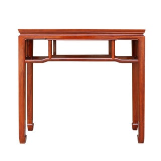 Chinese Huali Rosewood Light Brown Straight Apron Side Altar Table For Sale