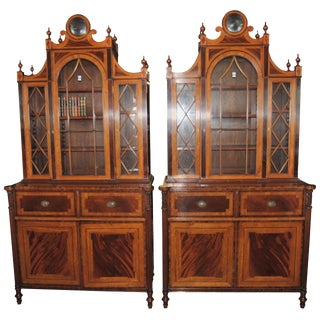 Matched Pair of English Regency Style Bookcases For Sale