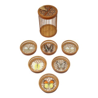 Vintage MCM 70s Bamboo and Glass Butterfly Coasters With Lidded Box - Set of 7 For Sale