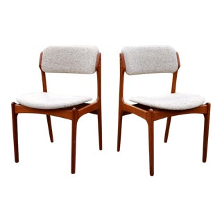 Danish Solid Teak Chairs by Erik Buck - A Pair For Sale