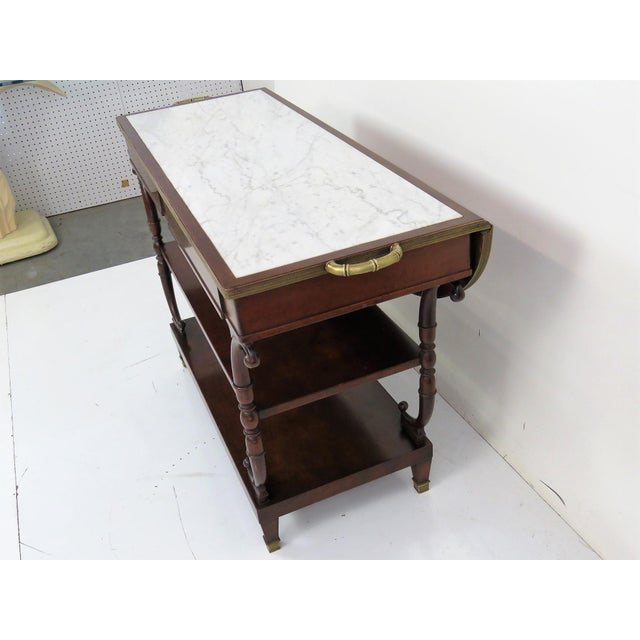 Directoire Style Marble Top Mahogany Drop Leaf Server Table - Image 7 of 8