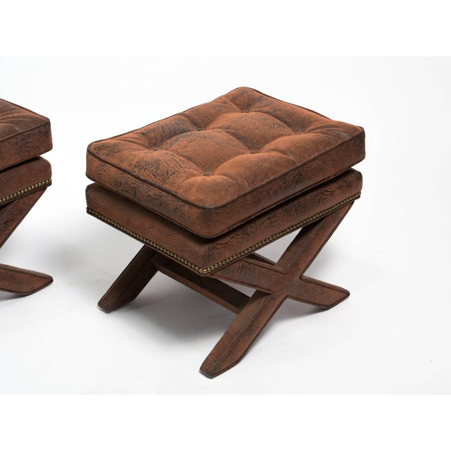 Billy Baldwin Style X-Benches - a Pair For Sale - Image 9 of 10
