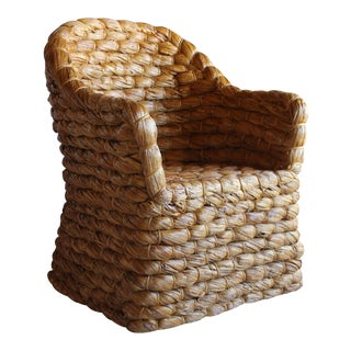 Organic Modern Ralph Lauren Joshua Tree Woven Natural Lampakanay Fiber Barrel Lounge Chair For Sale