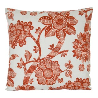 Contemproary Jacobean Burnt Red and White Floral Print Pillow For Sale