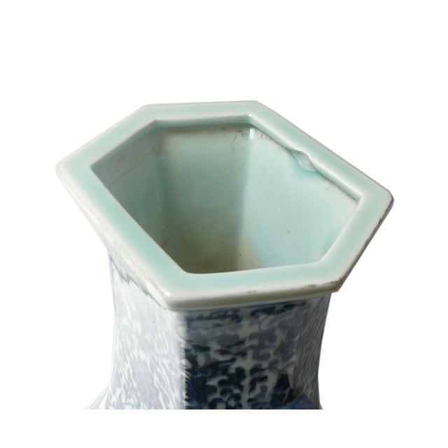 Blue & White Porcelain Hexagon Lotus Flower Vase For Sale - Image 5 of 7