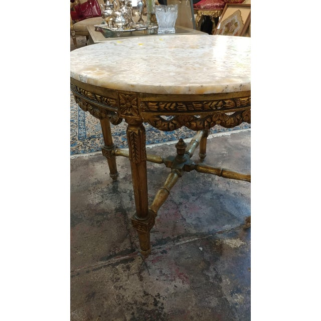 Louis XV 19th Century Louis XV Carved Gilt & Marble Top Coffee Table For Sale - Image 3 of 8