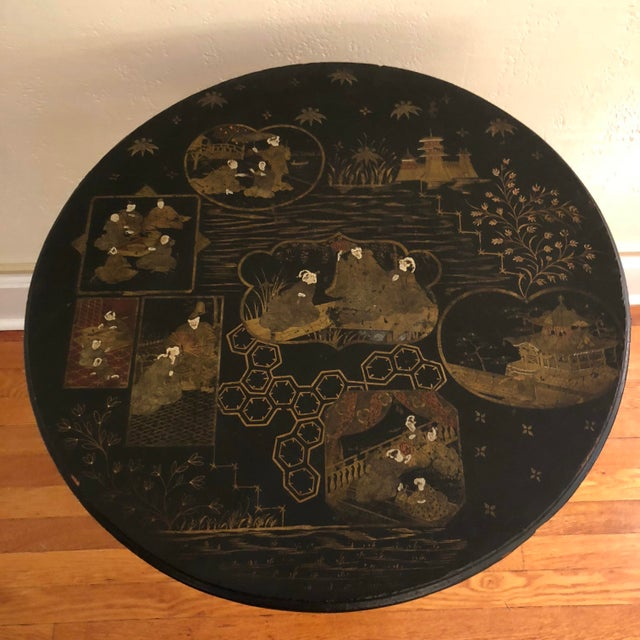 Antique Black Tilt Top Table With Painted Gold Chinoiserie Scene For Sale - Image 9 of 13