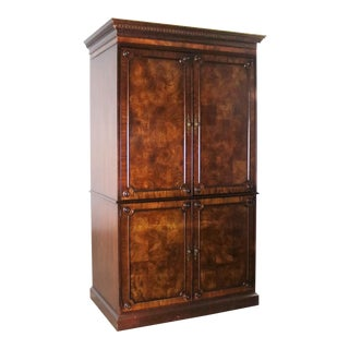 Georgian Style Large Mahogany Entertainment Armoire Wardrobe Cabinet by Hekman For Sale