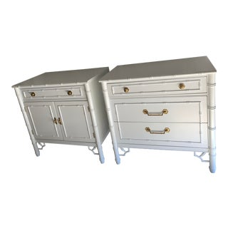 Chinoiserie Mid-Century Faux Bamboo Lacquered Bachelor Chests - a Pair For Sale