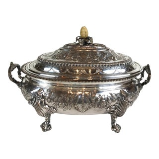 Antique English Sheffield/Sheffield Style Hand Chased Silver Plated Embossed Floral Large Tureen For Sale