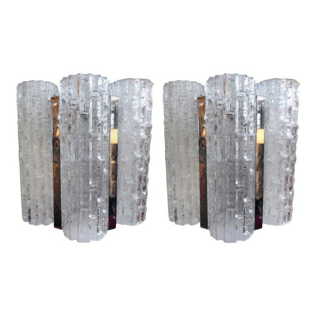 Vintage Venini Style Murano Glass and Chrome Sconces-A Pair For Sale - Image 9 of 9