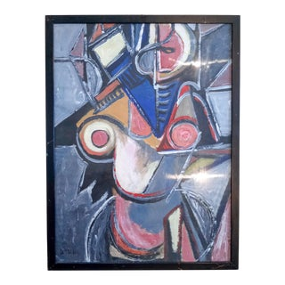 Mid 20th Century Cubist Figure Behind Glass Oil Painting, Framed For Sale